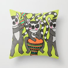 Dancing Lemurs Throw Pillow