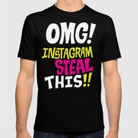 OMG! INSTAGRAM! Mens Fitted Tee Black SMALL