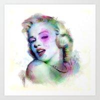 Marilyn Under Brushes Ef… Art Print
