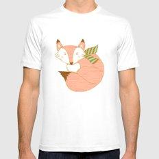 Fashionable Fox - Peach Mens Fitted Tee SMALL White