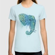 Elephant Portrait Womens Fitted Tee Light Blue SMALL
