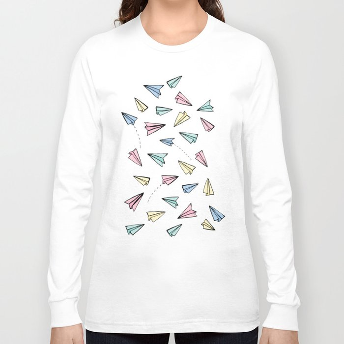 Paper planes in pastel long sleeve t shirt by tangerine for Pastel colored men s t shirts