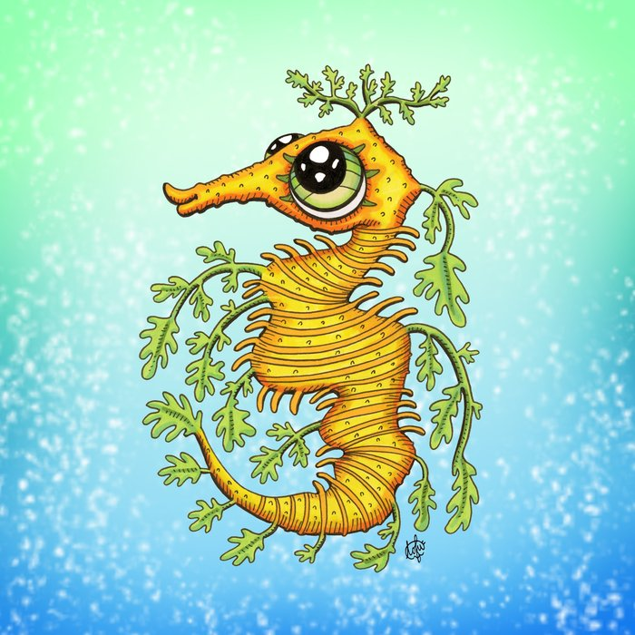 Happy Leafy Sea Dragon Art Print by Tofu Squirrel | Society6