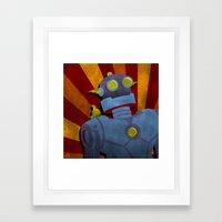 Retro Robot With Yellow … Framed Art Print