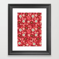 Fresh Blossoms (Reds) Framed Art Print