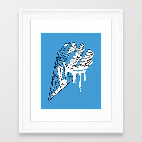 Snowy City Framed Art Print
