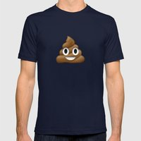 Smiling Poo Emoji (Colored Background) Mens Fitted Tee Navy SMALL