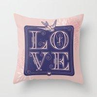 love type swallow Throw Pillow