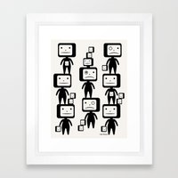 Black Block Heads Framed Art Print