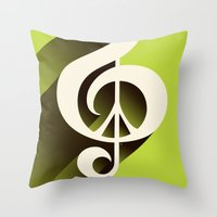 Lime Green Retro Music & Peace  Throw Pillow