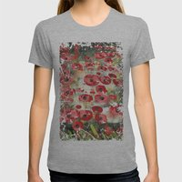 angela's poppies Womens Fitted Tee Athletic Grey SMALL
