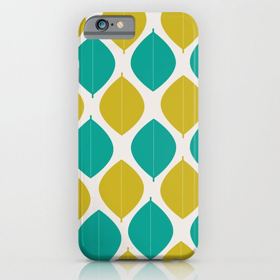 TEAL AND GREEN LEAVES iPhone & iPod Case