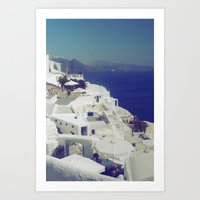 Santorini White & Blue Art Print