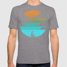Go West (sail away in my boat) Mens Fitted Tee Tri-Grey SMALL