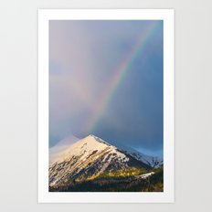 A rainbow over the Caucasus Mountains Art Print