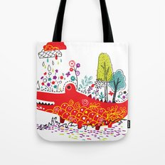 Happy Croc In The Rain Tote Bag