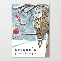 Lonely Owl Christmas Card Canvas Print