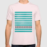 TEAL STRIPES AND ARROWS Mens Fitted Tee Light Pink SMALL
