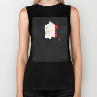 France Minimalist Vintage Map with Flag Biker Tank