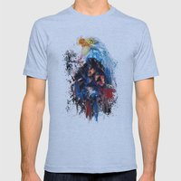 Drippy Jazzy Bald Eagle Colorful Bird Art by Jai Johnson Mens Fitted Tee Athletic Blue SMALL