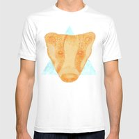 Native Aztec Badger Mens Fitted Tee White SMALL