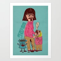 French Father Helps His … Art Print