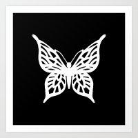 Butterfly White On Black Art Print