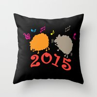 Dancing sheep 2015 year of the animal Throw Pillow