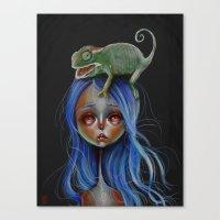 Little Chameleon Head Canvas Print