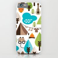 Wild camping trip with fox and wild animals illustration iPhone 6 Slim Case