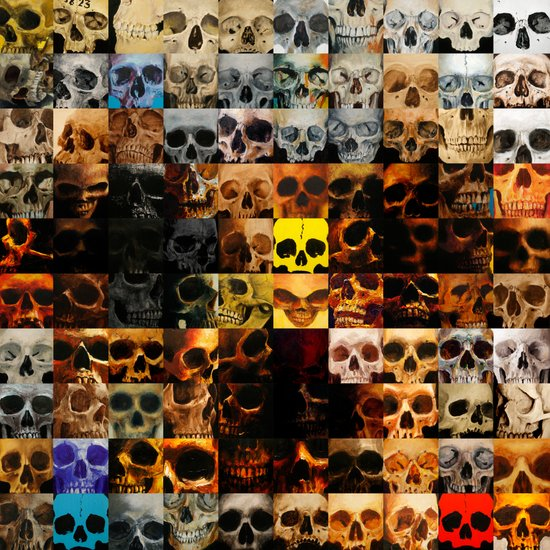 100 Painted Skulls Canvas Print