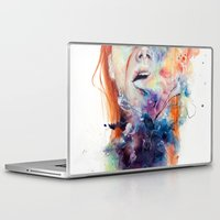 watercolor Laptop & iPad Skins featuring this thing called art is really dangerous by agnes-cecile