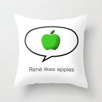 René likes apples Throw Pillow