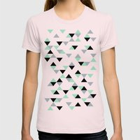 Triangles Mint Grey Womens Fitted Tee Light Pink SMALL