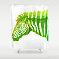 Zebra Watercolor Print Shower Curtain
