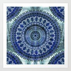 Vintage Blue Wash Mandala Art Print