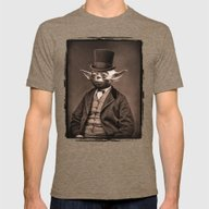 Portrait Of Sir Yoda Mens Fitted Tee Tri-Coffee SMALL