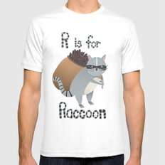 R is for Raccoon SMALL Mens Fitted Tee White