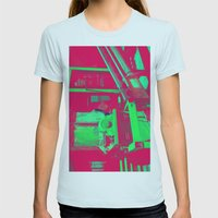 Factory Red Womens Fitted Tee Light Blue SMALL