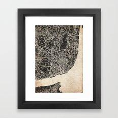 lisbon map ink lines 2 Framed Art Print