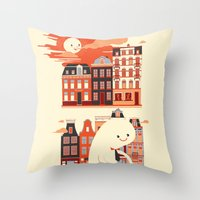 Happy Ghost Biking Through Amsterdam Throw Pillow