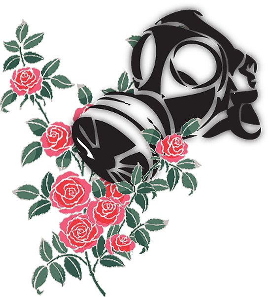 smell the roses - gas mask Art Print