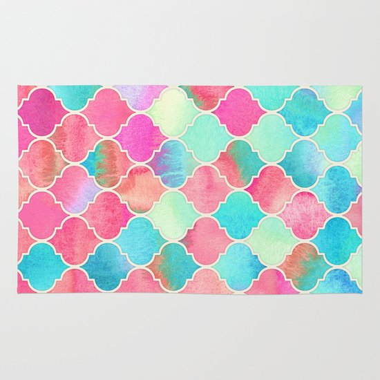 Watercolor Moroccan Patchwork In Magenta, Peach & Aqua Rug