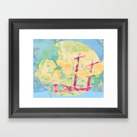 Sail In The Set Framed Art Print