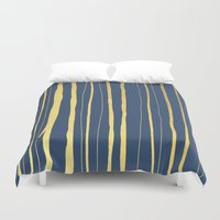 Vertical Living Navy and Gold Duvet Cover