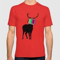 Deer TV Mens Fitted Tee Red SMALL