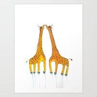 Unicorn Giraffes  Art Print