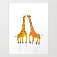 Unicorn Giraffes  Art Print