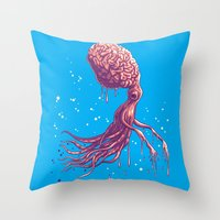 the zombie octopus Throw Pillow