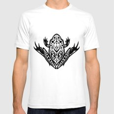Tribal Leopard Frog White Mens Fitted Tee SMALL